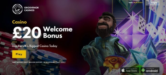 grosvenor casino £20 bonus promo
