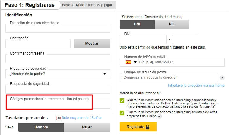 Betfair Registrarse