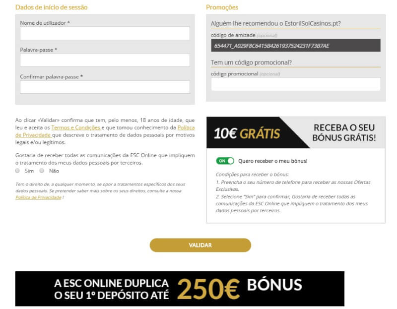 Código Promocional Casino Estoril