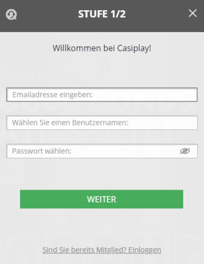 Casiplay Registrierung